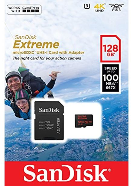 Compare cheap offers & prices of SanDisk Extreme microSDXC 128GB + SD Adapter for Action Sports Cameras - works with GoPro Messaging - 100MB/s A1 C10 V30 UHS-I U3 manufactured by SanDisk