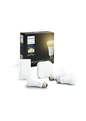 Philips Hue White Ambience A19 E27 60W Equivalent Smart Bulb Starter Kit (3  A19 E27 Bulbs, 1 Bridge and 1 Dimmer Switch, Compatible with Amazon Alexa,