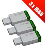 Compare retail prices of 3 x Kingston DataTraveler 50 - DT50 - 16 GB USB Drives USB 3.1 (Multi-Pack of 3 x DT50/16GB 16GB Drives) to get the best deal online