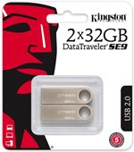 Image of 2 x Kingston DataTraveler 32GB USB Flash Drives, Metal Silver, (Twin Pack)