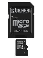 Image of Kingston 32GB Micro Secure Digital High Capacity (Micro-SDHC) Memory Card with SD Adapter (Class 4)