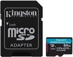 Image of Kingston Canvas Go Plus 64GB microSDXC Card 170MB/s Read A2 U3 V30 With SD Adaptor