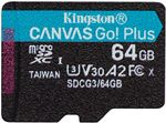 Image of Kingston Canvas Go Plus 64GB microSDXC Card 170MB/s Read A2 U3 V30 (Card Only)