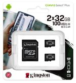 Image of Kingston Canvas Select Plus Multi-Pack 2 x 32GB microSDHC Card + SD Adapter