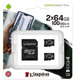 Image of Kingston Canvas Select Plus Multi-Pack 2 x 64GB microSDHC Card + SD Adapter