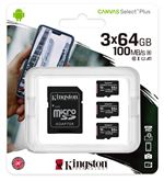 Image of Kingston Canvas Select Plus Multi-Pack 3 x 64GB microSDXC Card + SD Adapter