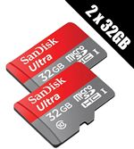 2 x SanDisk Ultra 32 GB microSD SDHC Memory Cards UHSI Class 10 80 MBs read  2 x SD Adapters (Double Pack)