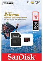 SanDisk Extreme microSDXC 128GB + SD Adapter for Action Sports Cameras - works with GoPro Messaging - 100MBs A1 C10 V30 UHS-I U3